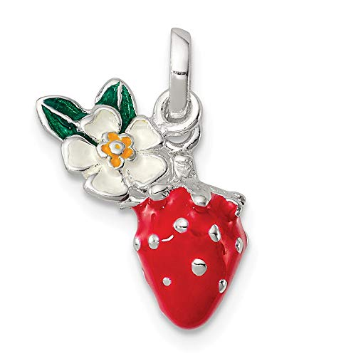 925 Sterling Silver Enamel Kids Flower Strawberry Pendant Charm Necklace Kid Gardening Fine Jewelry Gifts For Women For Her
