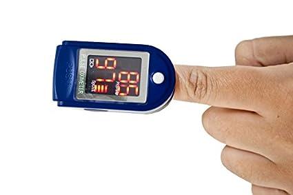 Quirumed OXYM2000 - Pulsioxímetro portátil medidor de pulso y saturación de oxigeno, color azul