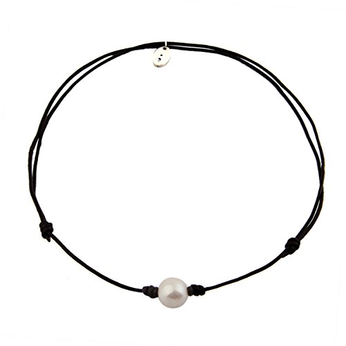 Freshwater Pearl Choker Necklace and Bracelet with Leather Cord (Black (9mm Black Pearl Necklace Bracelet)