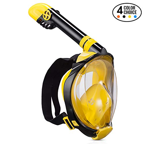 ACELGA Snorkel mask (Yellow, L/XL) (All In One Face Mask And Snorkel)