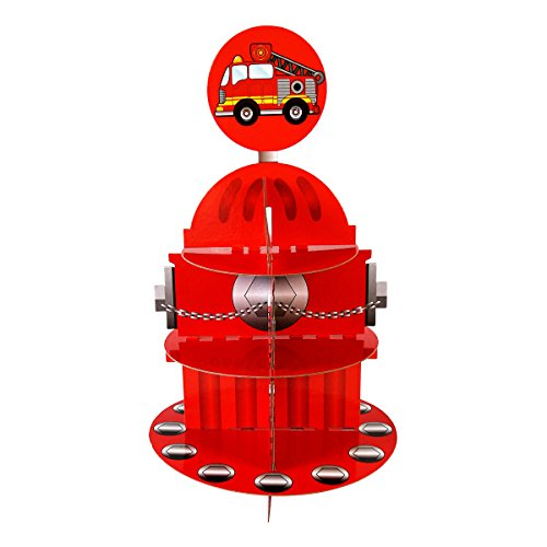 (Fire Hydrant Cupcake Stand & Pick Kit, Fireman Birthday, Fire Engine Party, Decorations, 3 Tier Cardboard Firefighter Cupcake Stand, Party Supplies, Cake)
