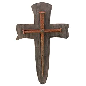 Gifts & Decor Rustic Nail Iron Wood Religious Faith Cross Wall Plaque