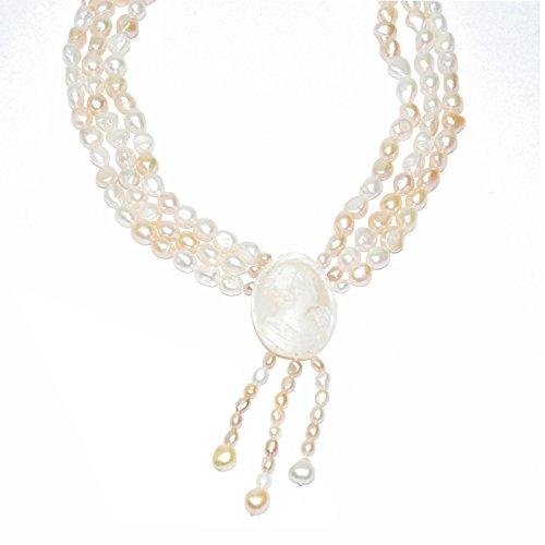 Créations or Collier en perles irrégulières et camée 16mencl0788