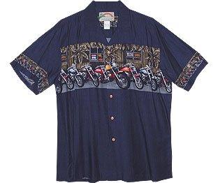 Motorcycle Chest Band Men's Hawaiian Aloha Rayon Shirt in Navy Blue - S (Motorcycle Shirt Hawaiian)