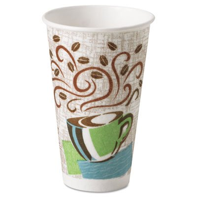 Hot Cups, Paper, 16oz, Coffee Dreams Design, 50/Pack, Sold as 1 Package, 50 Each per Package