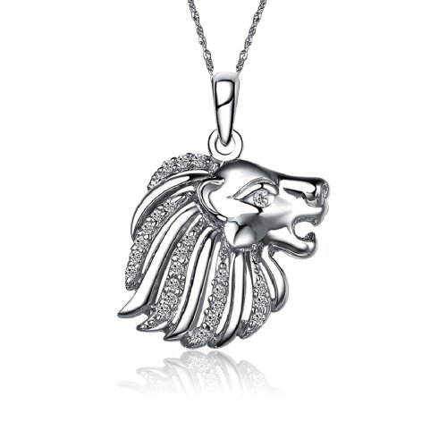 (Greek Star Alpha Delta Pi Lion Silver Necklace with a 18