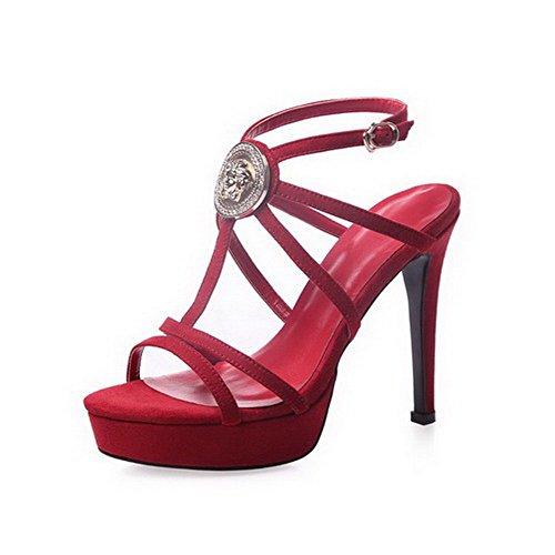 AalarDom Mujeres Hebilla Tacón de aguja Piel De Oveja Sólido Puntera Abierta Sandalia Rojo