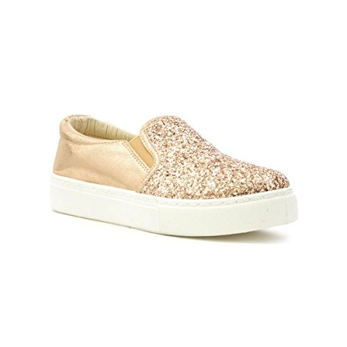 Lilley Womens Gold Glitter Slip on Shoe Multicolour jxPcHOjTdF