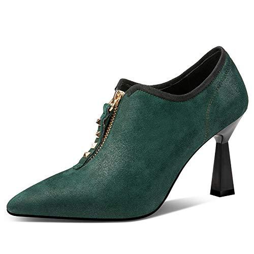 Tacones Moda Remache Cuero Señalaron Las Verde Zapatos Los 2019 Cremallera Fiesta Altos Shinik Mujeres De Primavera 4IqOw