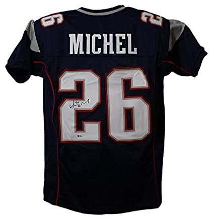 9f39502d402 Sony Michel Autographed Signed New England Patriots Blue XL Jersey ...