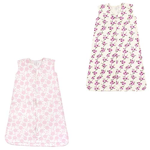 (Touched by Nature Baby Organic Cotton Wearable Safe Printed Sleeping Bag, Cherry Blossom and Floral Shadow 2 Pack, 12-18 Months )