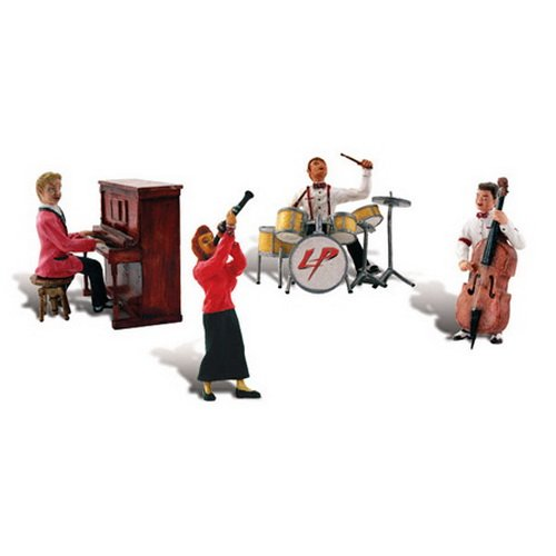 Woodland Scenics Scenic Accents Music to My Ears 1950's Era Band (4 Figs. w/Instruments) HO Scale