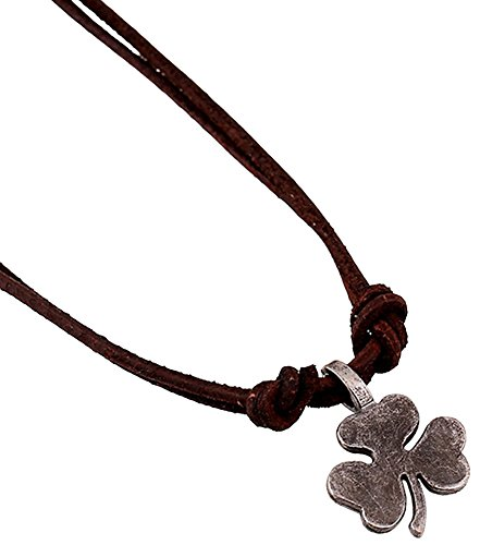 Hamoery Leather Clover Pendant Necklace