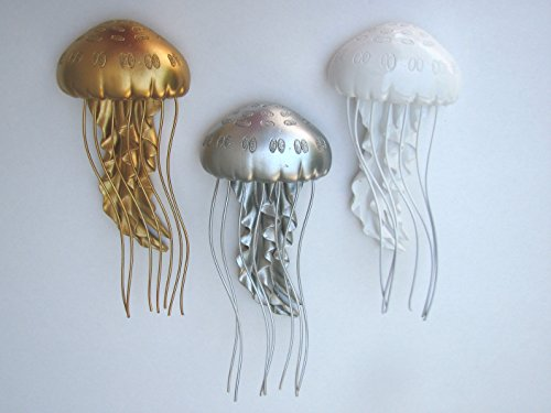 Lovely Jelly Fish Wall Art 3 Color Set White, Gold and Silver (Jellyfish Metal Wall Decor)