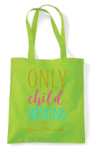 Only Expiring Announcement New Baby Notice Child Lime Tote Bag Shopper Family gg7xAw1r