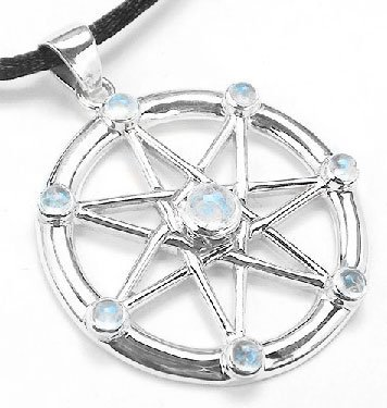 Sterling Silver Elven or Faerie Seven Pointed Star Septagram Pendant Necklace with Rainbow Moonstone