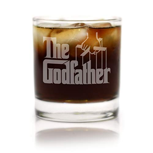 (Movies On Glass - Premium Etched Godfather Movie Engraved Logo Whiskey Glass Godparent Gift 11 Ounces)