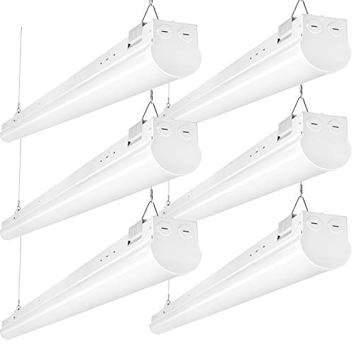 Hykolity 4FT LED Shop Linear Strip Light Fixture Linkable 40W 5200lm Replaces up to 2-Lamp T5HO/T8 Fluorescent Tube Low Bay Commercial Industrial 5000K 0-10V Dimmable DLC Complied 6 Pack