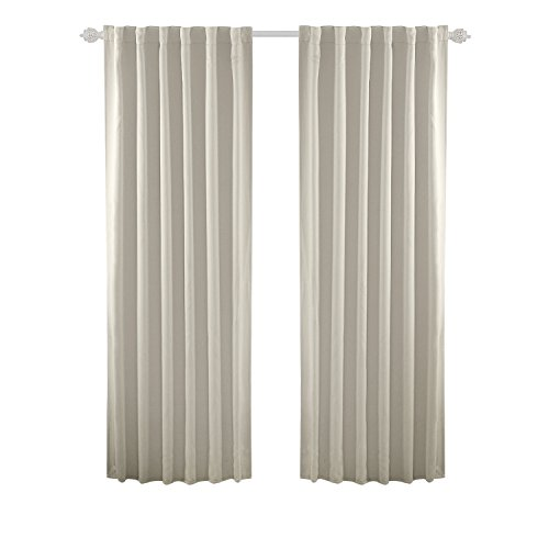 (Deconovo Solid Back Tab and Rod Pocket Solid Thermal Insulated Blackout Curtain and Drapes for Living Room 52W x 84L Inch Set of 2 Panels Light Beige)