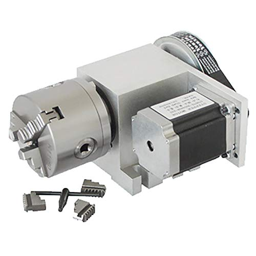 Huanyu Engraving Machine Fourth Axis (A Axis, Rotary Axis, CNC Indexing Head) 80mm Three-Claw/Four-Jaw Chuck (No Backlash) (Three-jaw chuck Kit) (4th And 5th Axis Cnc Rotary Table)