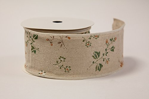 (Decor Trader Burlap Floral Print Vintage Ribbon - Two Sizes - Decor Crafts - Wedding Events (2.5inches X 10Yards))