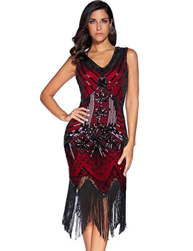 Meilun 1920s Sequined Inspired Beaded Gatsby Flapper Evening Dress Prom (XL, Red) -