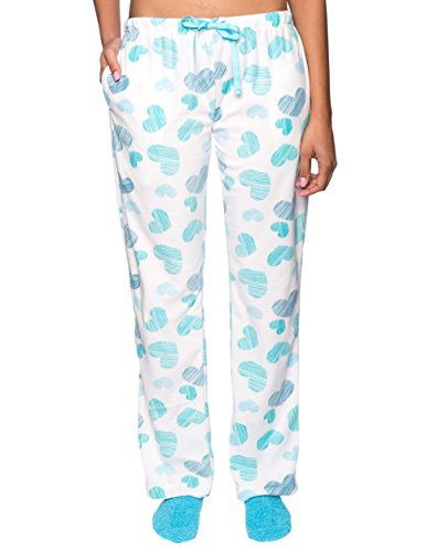 Noble Mount Women's Microfleece Lounge/Sleep Pants - Scribbled hearts White/Blue - Medium (Scribbled Hearts)