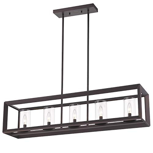 - Emliviar 5-Light Kitchen Island Lighting, Modern Domestic Linear Pendant Light Fixture, Oil Rubbed Bronze Finish with Clear Glass Shade, 2074LP ORB