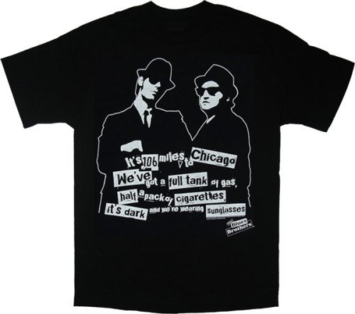 Blues Brothers 106 Miles to Chicago Black T-Shirt Tee, ()