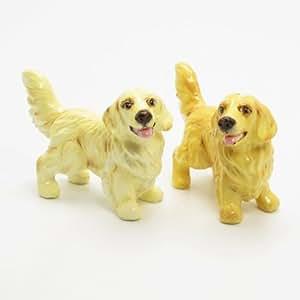 Golden Retriever Dog Ceramic Figurine Salt Pepper Shaker C00001 Ceramic Handmade Dog Lover Gift Collectible Home Decor Art and Crafts