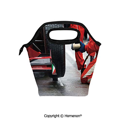 Insulated Neoprene Soft Lunch Bag Tote Handbag lunchbox,3d prited with Professional Racing Team at Work Pit Stop Racecar Fast Tyre Changing,For School work Office Kids Lunch Box & Food Container