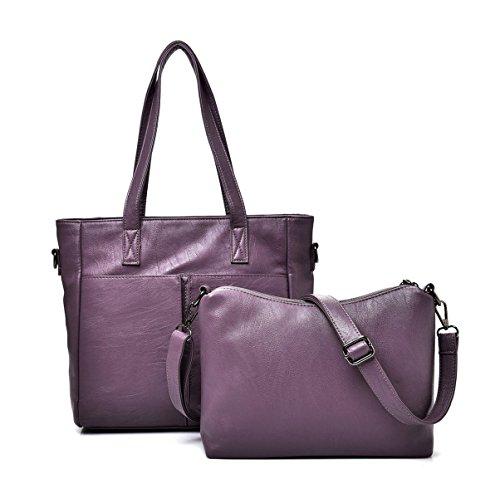 Mujer Nuevo Compuesto Bolsa Traje De Dos Piezas Europa Y Los Estados Unidos La Moda Portátil Solo Hombro Bolsa Bolsa Bolsa Purple