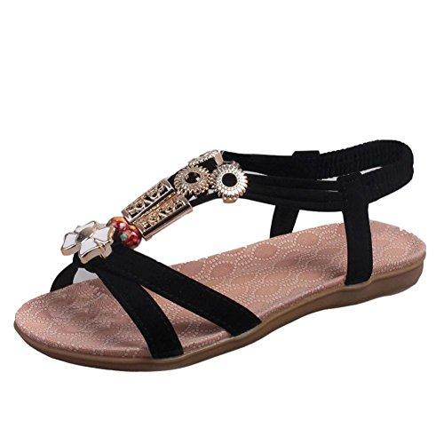 Ama (tm) Femme Été Cuir Bohême Sandales Plates Chaussures De Plage Noir