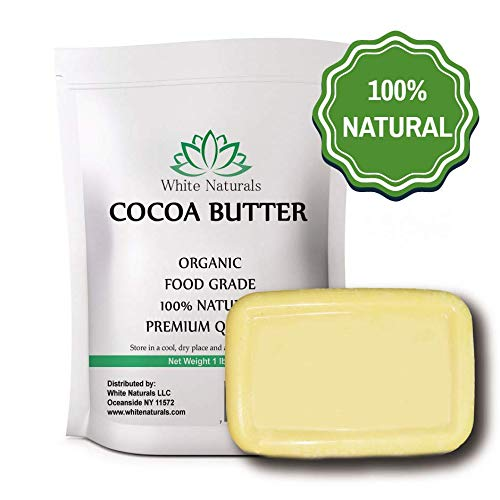 Raw Cocoa Butter 1 lb, Unrefined, Pure, Natural, Perfect For Skin Care & Hair Care, All DIY Recipes,16 oz By White Naturals