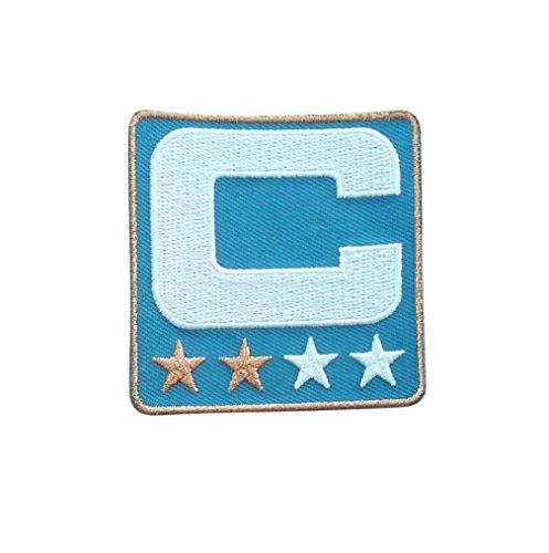 Light Blue Captain C Patch (2 Gold Stars) Iron On for Jersey Football, Baseball. Soccer, Hockey, Lacrosse, Basketball]()