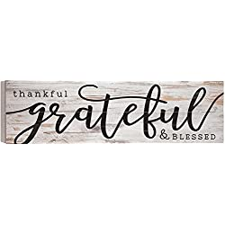 Thankful Grateful Blessed White Wash 24 x 7 Inch Solid Pine Wood Boxed Pallet Wall Plaque Sign