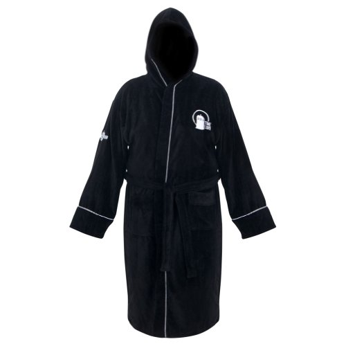 Doctor Who Time Lord Hooded Black Cotton Bath Robe, One Size Fits Most
