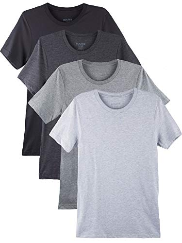 Blend Mens T-shirt - Bolter 4 Pack Men's Everyday Cotton Blend Short Sleeve T-Shirt (Medium, Blk/H.Greys)