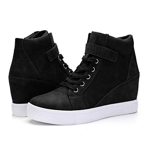 XMWEALTHY Women's Casual Wedges Sneakers Lace Up Hook Loop Fashion Sneaker High Top Hidden Heel Wedges Shoes