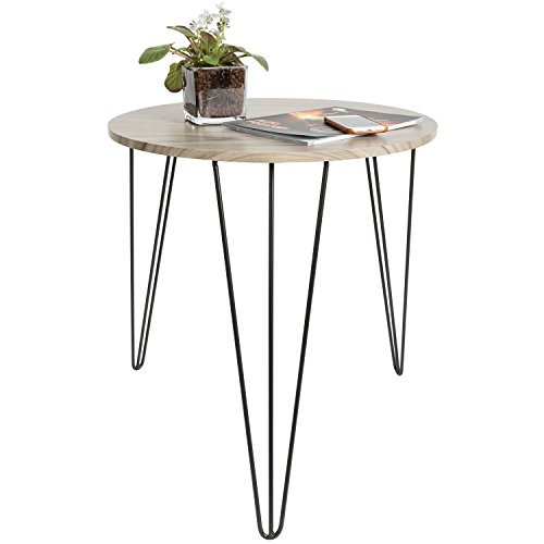 HollyHOME Wood Round Retro End Table,Accent Snack Table living Room ,Sturdy Sofa Table with 3-Legs,Coffee Table,Hall Table,Console Table,Furniture for Storage,Gunmetal (Mission Telephone Stand)