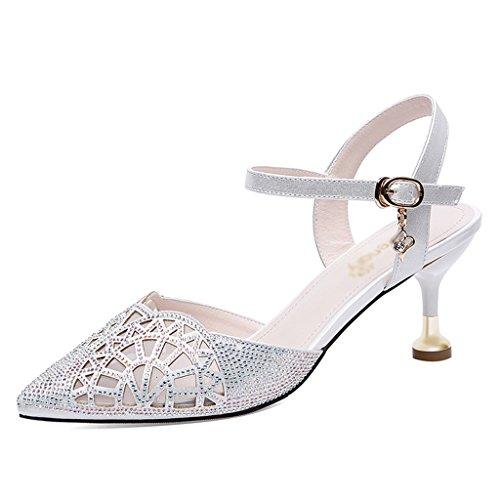 Chaussures 38 Femme Sandales Ms Femmes Blanc Sandals Taille Pointus Summer Talons Hwf À couleur Blanc HFfwOxrH