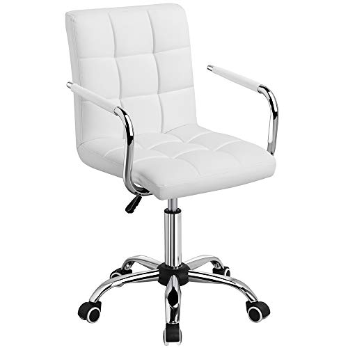 Chair With Wheels >> Yaheetech White Desk Chairs With Wheels Armrests Modern Pu Leather Office Chair Midback Adjustable Home Computer Executive Chair On Wheels 360 Swivel