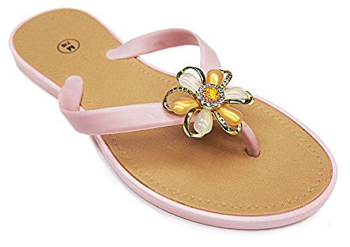 101 BEACH Embellished Jewel Flowel Strap Ladies Sandals Light Pink SlFvD