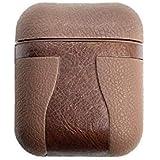 Pro Life 纹理皮革 Apple Airpod 皮质便携保护套防震保护套适用于Airpods - 深棕色纹理
