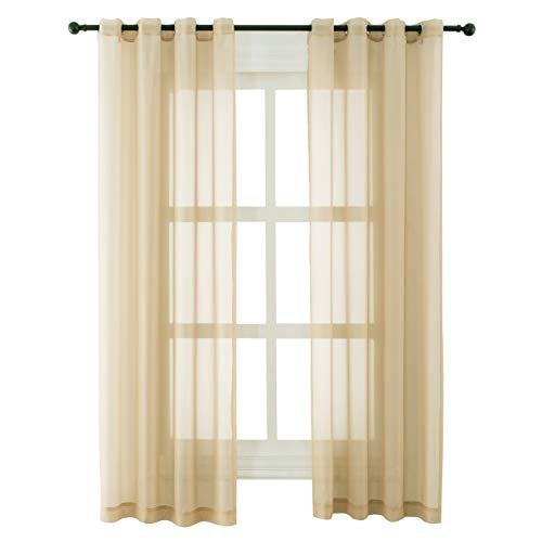 Bermino Sheer Curtains 84 inches Long Voile Grommet Semi Sheer Curtains for Bedroom Living Room Set of 2 Curtain Panels 54 x 84 inch Sand