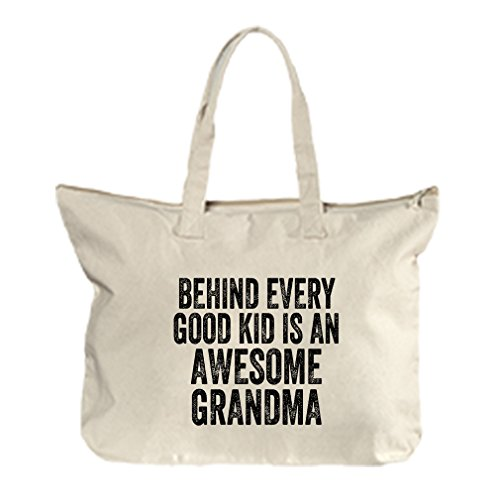 Behind Every Kid Is An Awesome Grandma Canvas Beach Zipper Tote Bag Tote