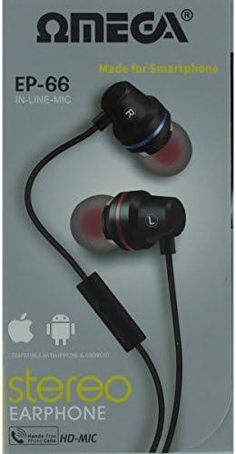 10066 Omega EP-66 In-Line-Mic Earphone ideal for smartphones - BLACK