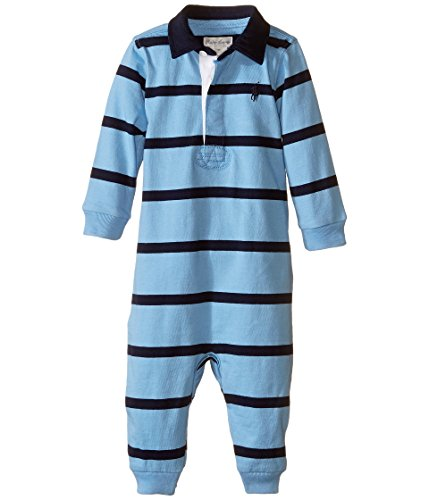 Ralph Lauren Baby Boys' Long-sleeved Striped Coverall Bodysuit (12 Months, Light Blue / ()