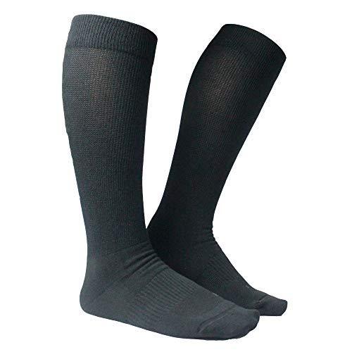 Diabetic Knee High Socks   Comfortable Non-Binding Cuff   Antimicrobial Socks   Men and Women (Black, L)