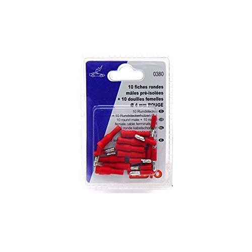 Eloto 10 douilles rondes femelles pr/é-isol rouges /Ø5mm 10 Fiches rondes m/âles